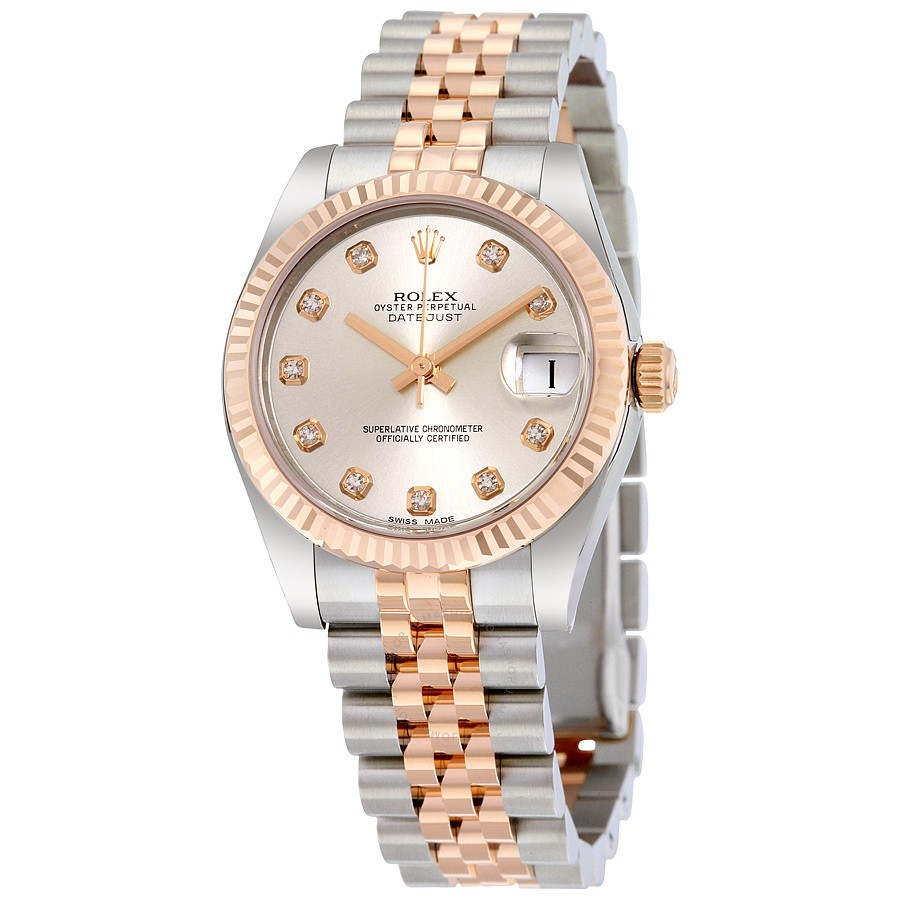 Lady Datejust 31 Silver Diamond Dial Steel and Everose Gold Jubilee Watch