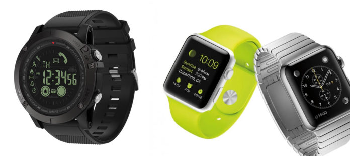 Black Tactical Smartwatch, T1 Tact Watch, vs various Pricey Apple Watches